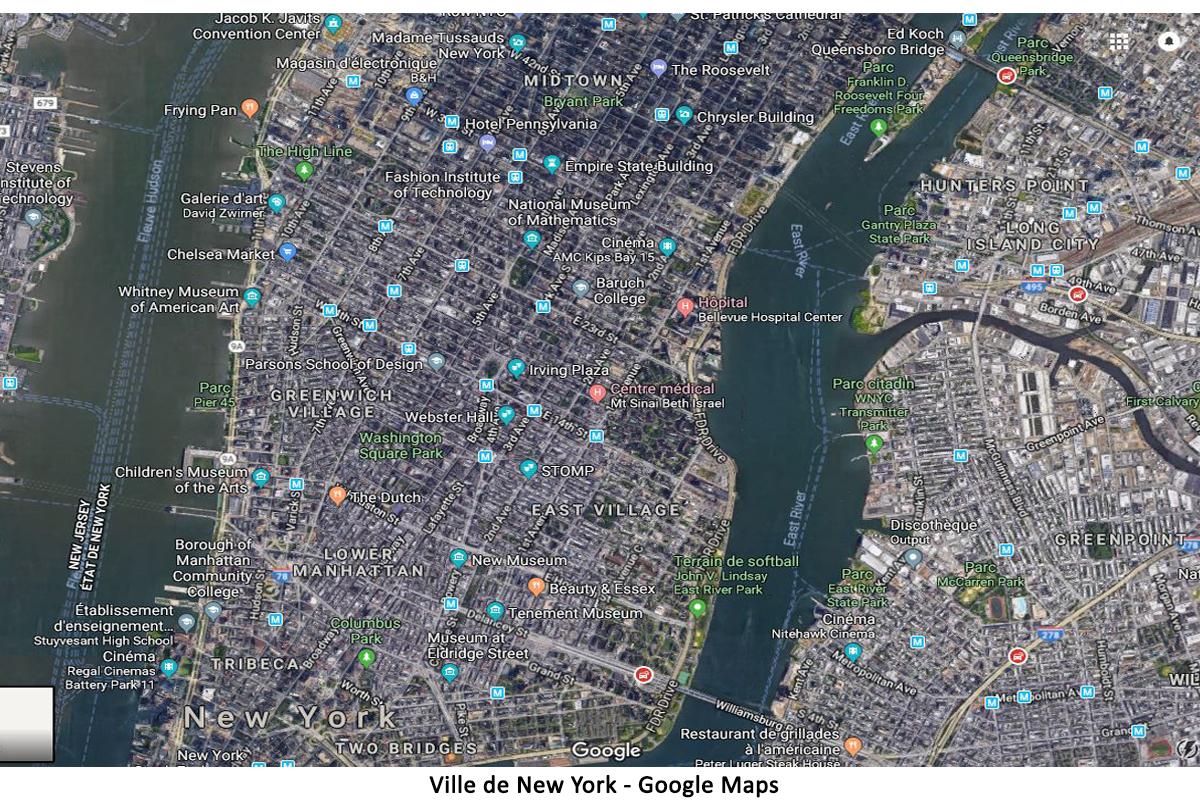 Ville de New York sur Google Maps